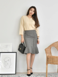 Mermaid Check Midi Skirt