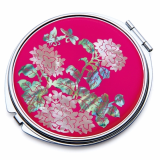 Compact Mirror Inlaid with Mother of Pearl Chrysanthemum