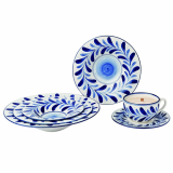 Taemi Art _Blue White Vine Printed Tableware Set_