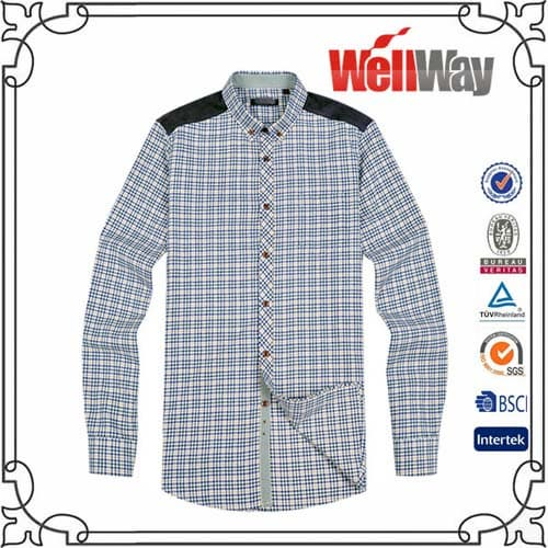 Polyester flannel mens shirt from shijiazhuang wellway for Cotton polyester flannel shirts