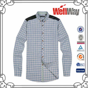 Polyester flannel mens shirt from shijiazhuang wellway for Polyester lined flannel shirts