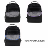 Polyester bag with detachable leather or poly pouch