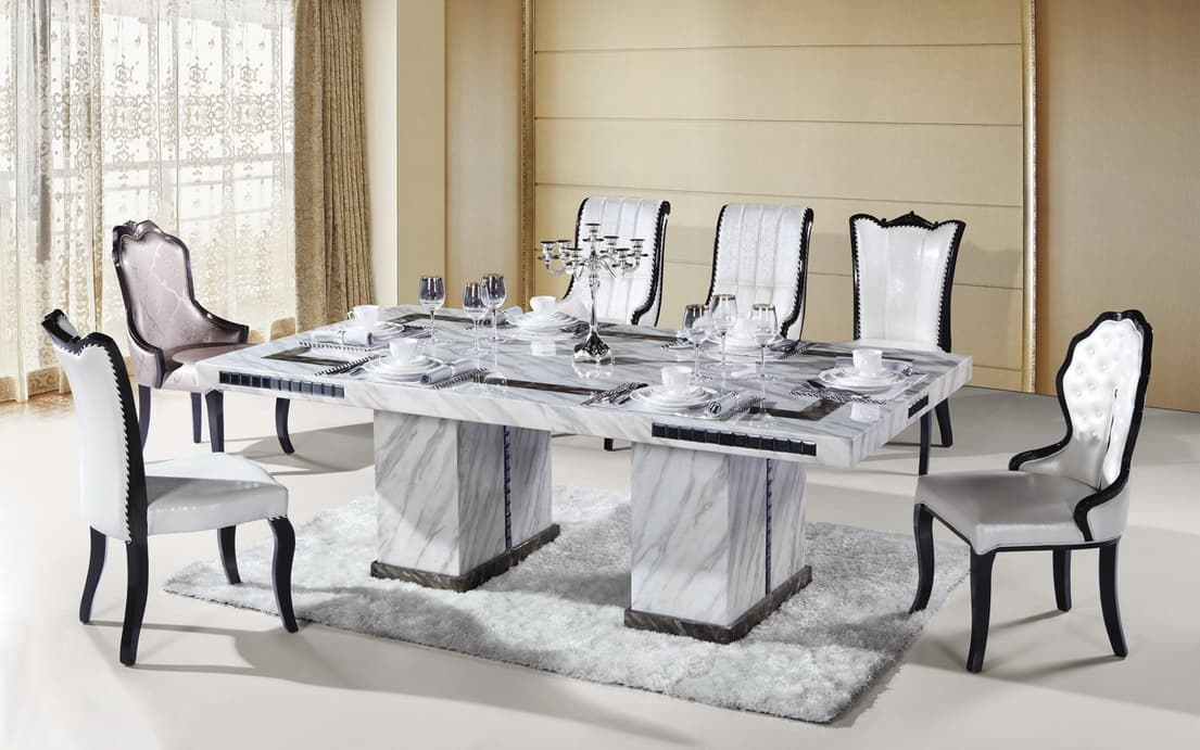 8 seater rectangle marble dining table from ntuple for Marble dining room table