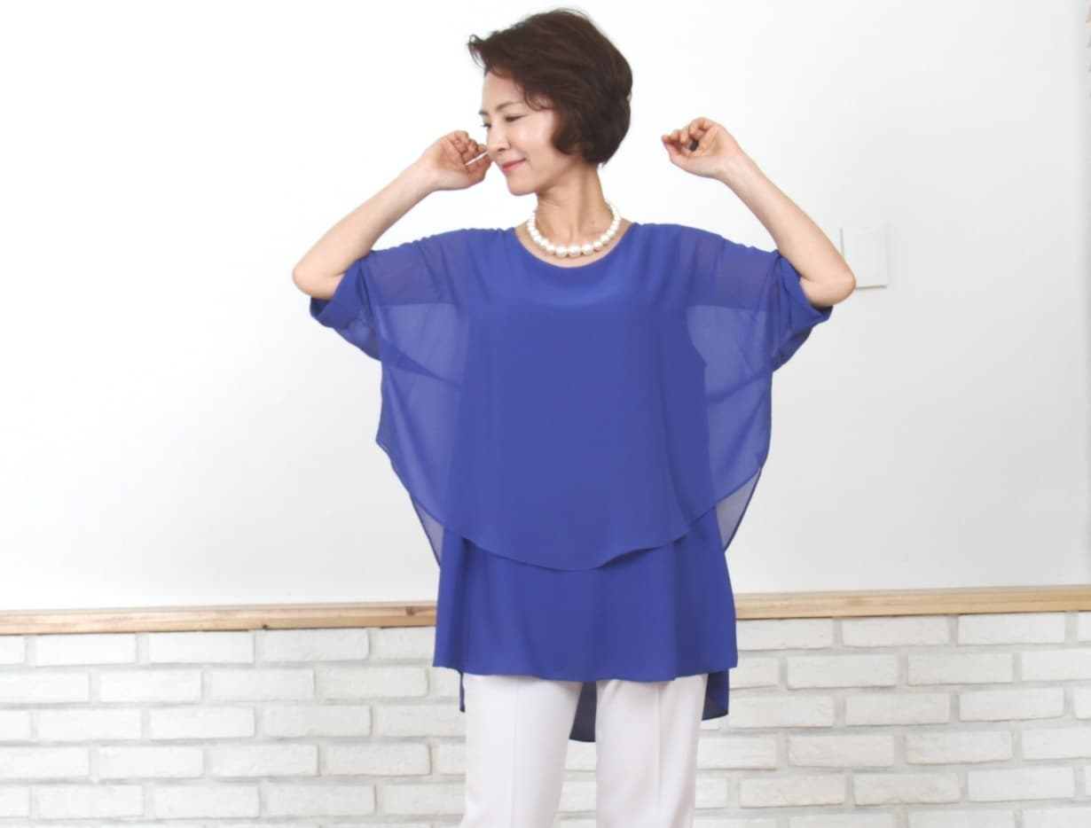 Chiffon Batwing Sleeve roll up 2 Layer Blouse