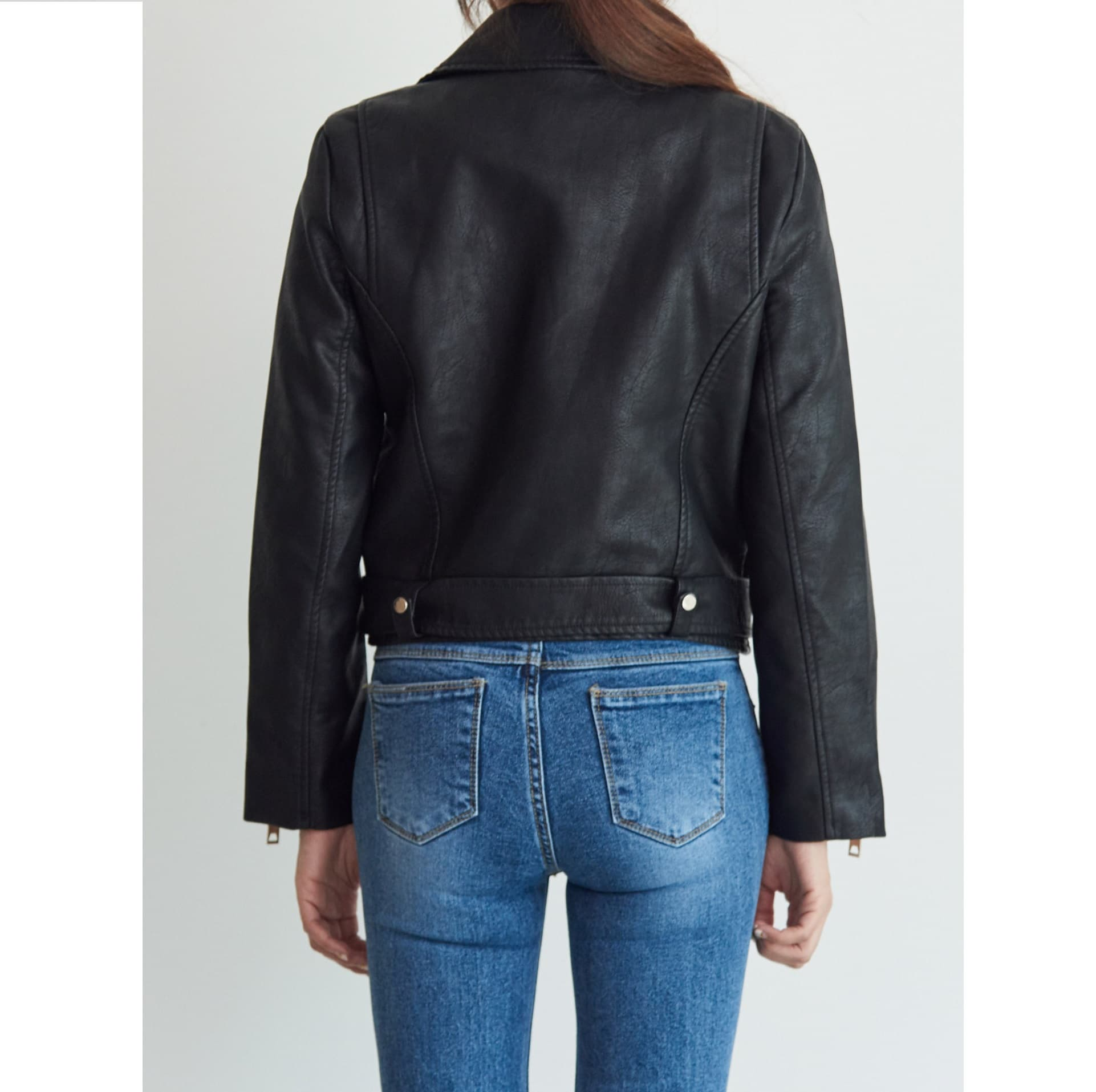 Black Leather Rider Jacket_ Autumn Classic Korean Fashion