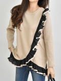 Front Ruffle Long Sleeve Top