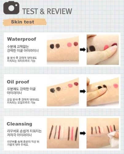 Water_Oil proof Auto Gel Eye liner_Black_ Brown_ Pink color