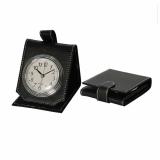 Folding Black Leather Alarm Clock Portable Ar