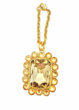 High End Square Bag Charm Swarovski Stone gold