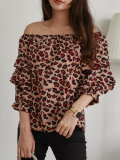 Layered Ruffle Collar Leopard Shoulder Off Blouse