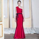 Red Mikado Silk Dress