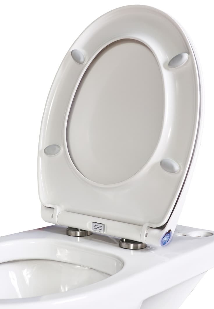 EU standard size urea soft close quick release WC toilet seat cover with  LED nightlight. EU standard size urea soft close quick release WC toilet seat