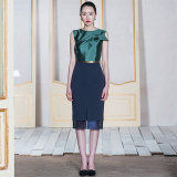 Darkgreen Mikado Silk Dress