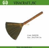 Grass broom with wicker handle