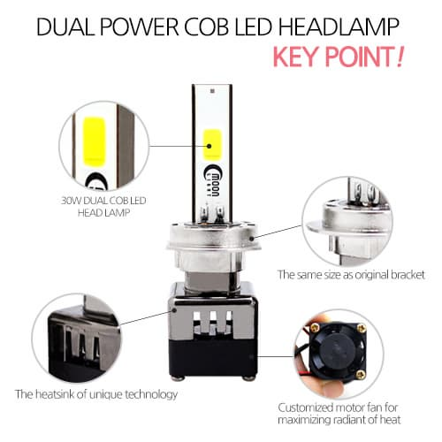 MOONLIGHT DUAL POWER LED HEAD LAMP 6000K_30W_H4_H7