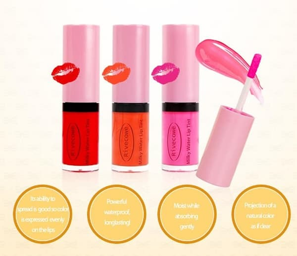 RIVECOWE Milky Water Lip Tint 6g_ 3 colors_ Liquid lip gloss