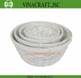 White painted bamboo flower pot
