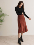 Long Shirring Skirt_ Fall Fashion Design_ Good Quality