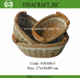 Brown rattan basket with handles