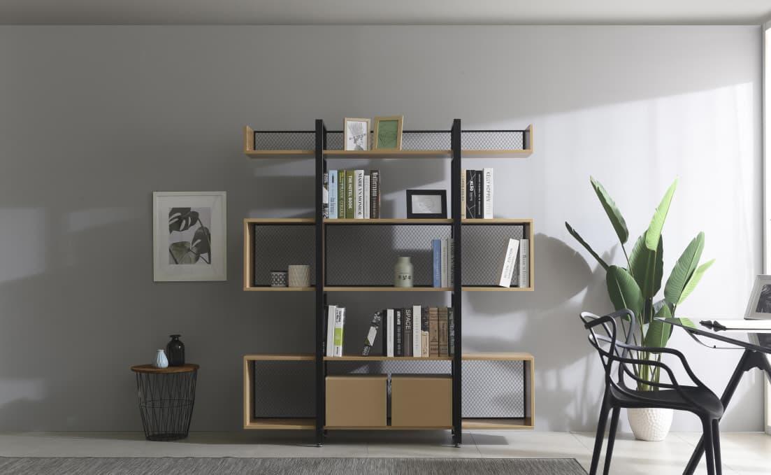 Modern furniture bookcase W1600 5 tiers squared bookshelf