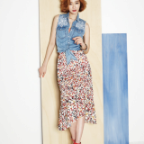 Long skirt _ Denim Vest