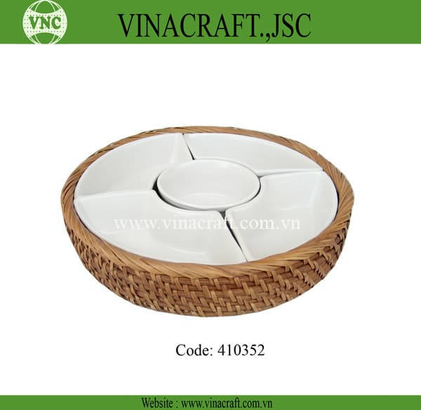 Vietnam rattan tray with ceramic inside