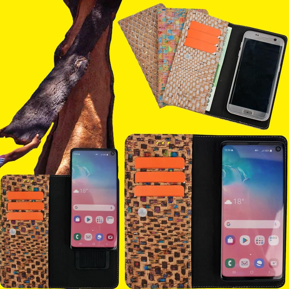 Cork Vegetable Natural Leather Cell Phone Flip Case Wallet