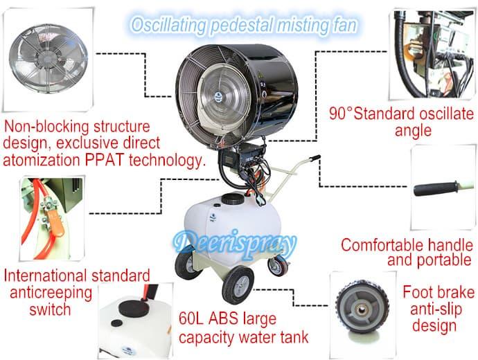 water fan deeri industry oscillating pedestal mist water spray fan from