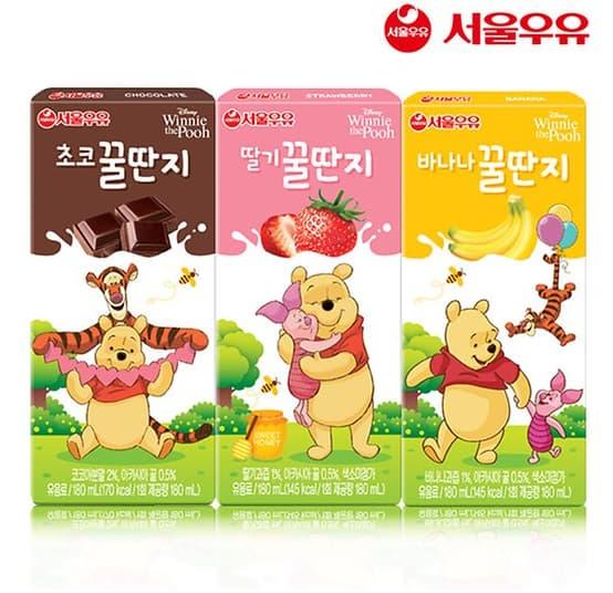 Seoul Milk Banana Chocolate Strawberry Milk 180ml Tradekorea