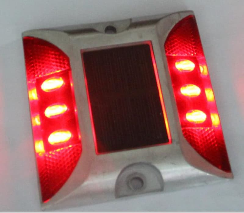 Steady ON Solar LED Traffic Sign Security Light Road Stud Decor Red Light