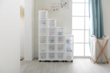 White slim drawers