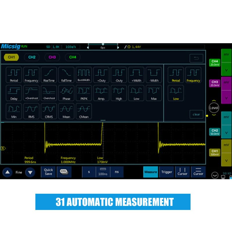 200MHz 4 channels touch screen digital tablet oscilloscope