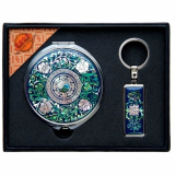 Compact Mirror and Key chain Set Mother of Pearl Arabesque