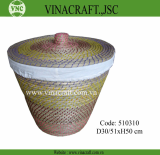 Coiled seagrass laundry basket with lid