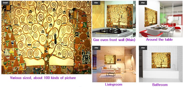 Kitchen grease proof tempered glass panel  _The tree of Life_2