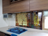 Kitchen grease proof tempered glass panel  _The tree of Life_3