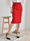 Stretchy Elasticated Bandage Twisted Midi Skirt