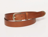Women_s leather belt  with  metal end decoration