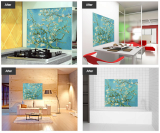 Kitchen grease proof tempered glass panel  _Blossoming Almon_2