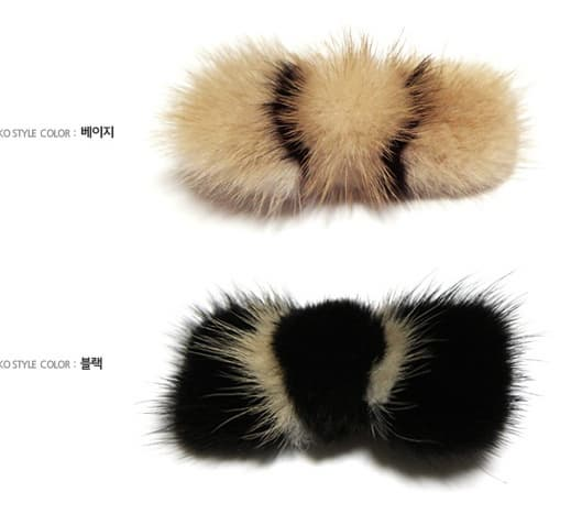 rear rabbit fur hair clips