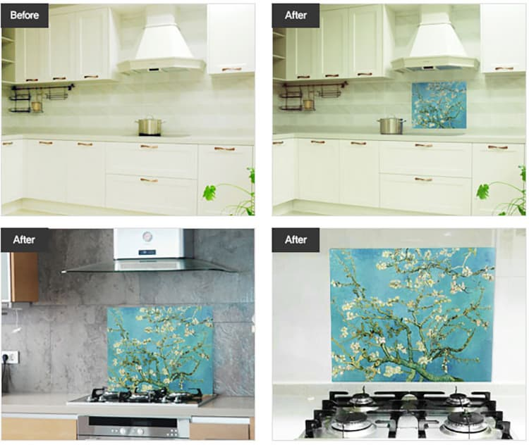 Kitchen grease proof tempered glass panel  _Blossoming Almon_3