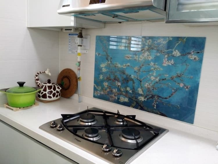 Kitchen grease proof tempered glass panel  _Blossoming Almon_5