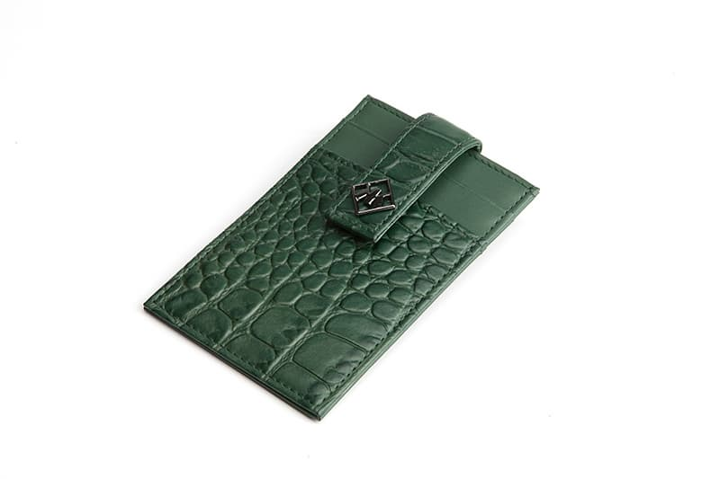 Alligator Embossed Calf Skin Card Money Clip