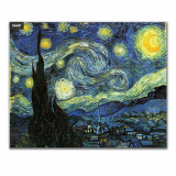 Kitchen grease proof tempered glass panel  _The Starry Night_1
