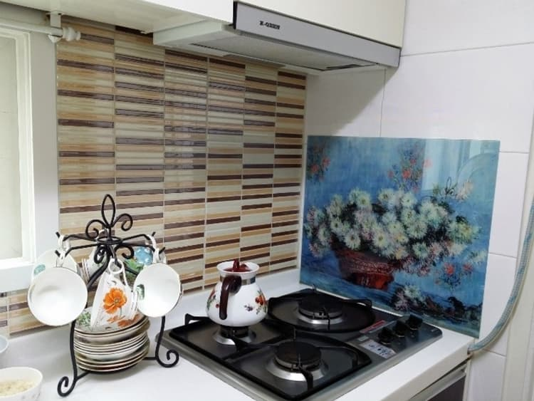 Kitchen grease proof tempered glass panel  _The Starry Night_4