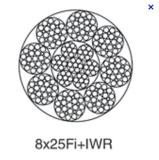 8X25Fi+IWR / 8X25Fi+FC steel wire rope