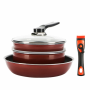 IH Diamond Frying Pan 6pcs Compact Set_ Detachable Handle