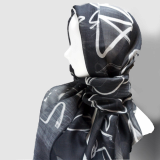 Scarf _blacknwhite Woolsilk