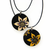 lacquared Flower Painting Pendant