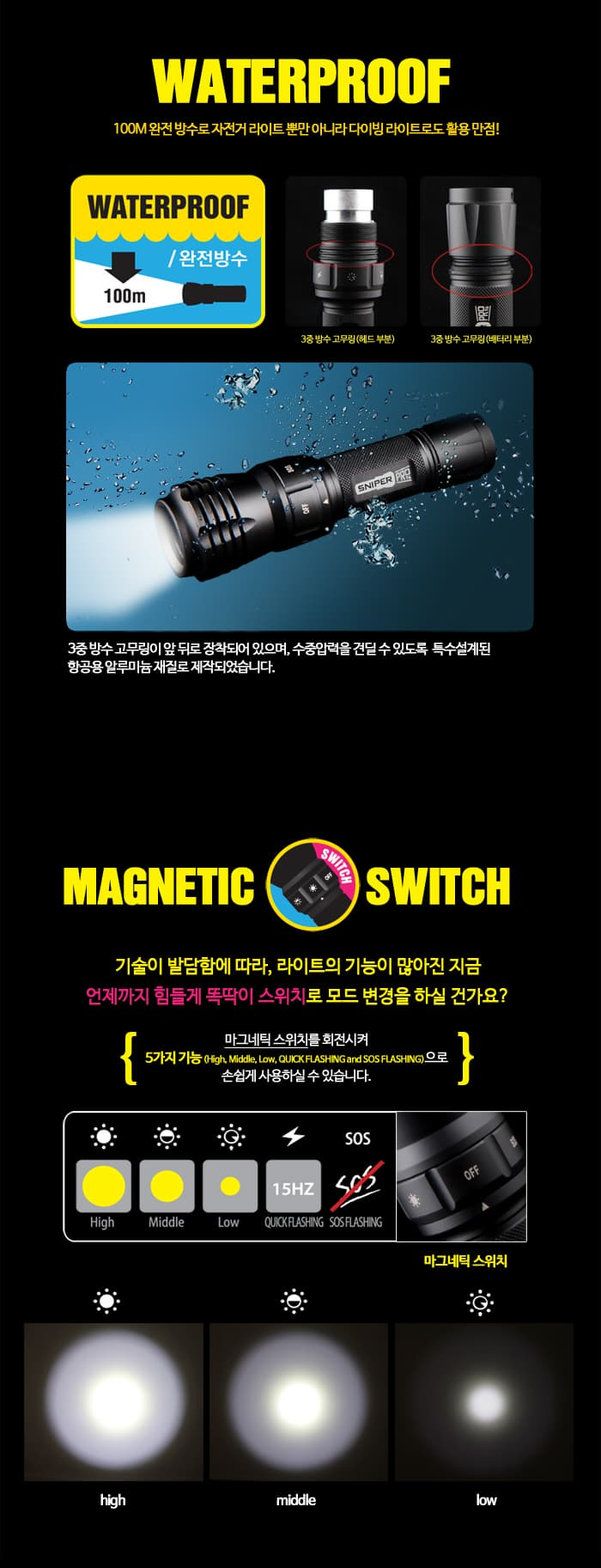 100 meter waterproof flashlight